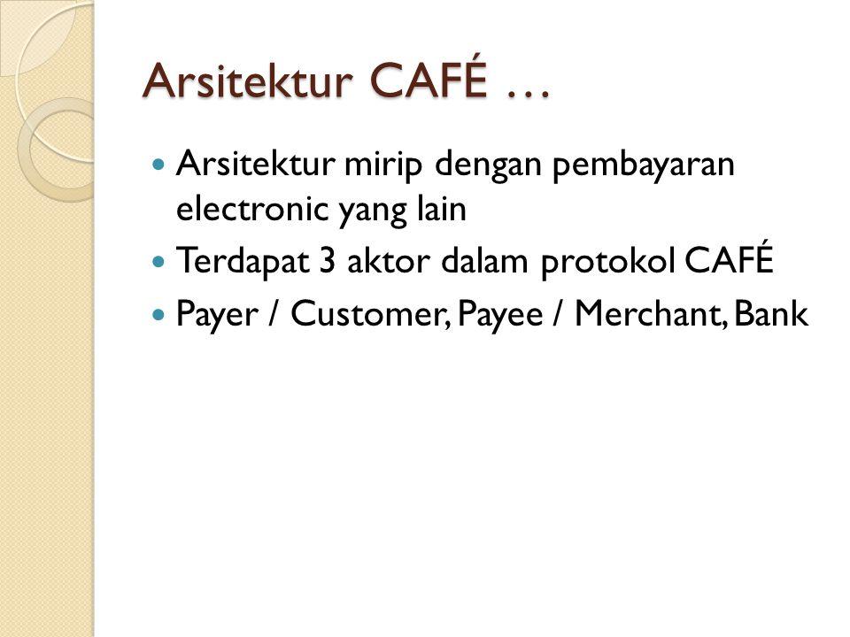 Arsitektur CAFÉ … Arsitektur mirip dengan pembayaran electronic yang lain Terdapat 3 aktor dalam protokol CAFÉ Payer / Customer, Payee / Merchant, Bank