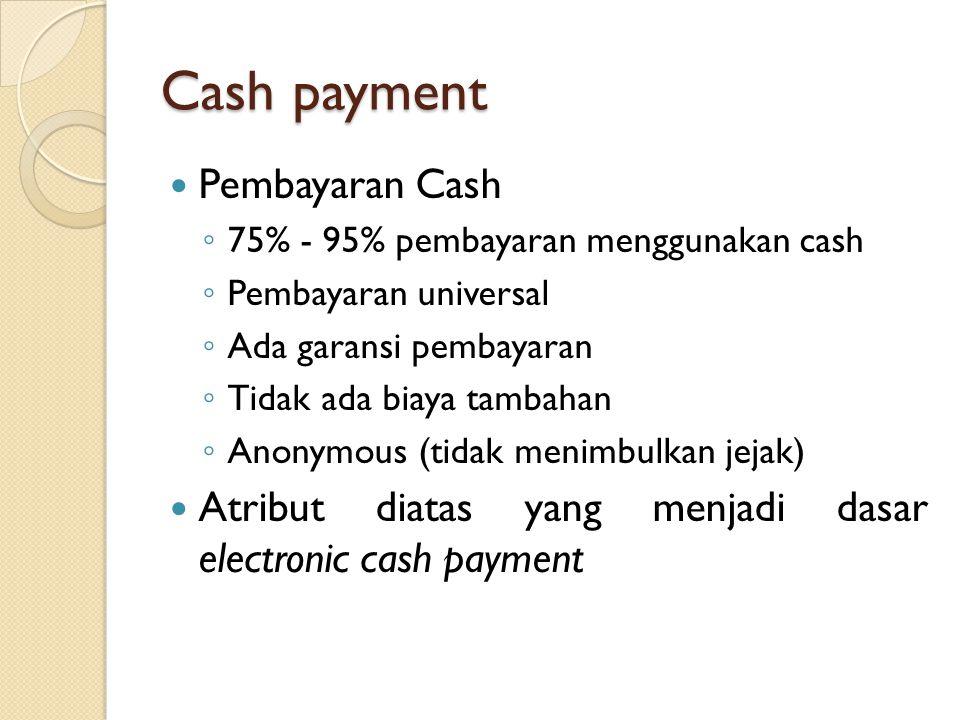 Cash payment Pembayaran Cash ◦ 75% - 95% pembayaran menggunakan cash ◦ Pembayaran universal ◦ Ada garansi pembayaran ◦ Tidak ada biaya tambahan ◦ Anonymous (tidak menimbulkan jejak) Atribut diatas yang menjadi dasar electronic cash payment