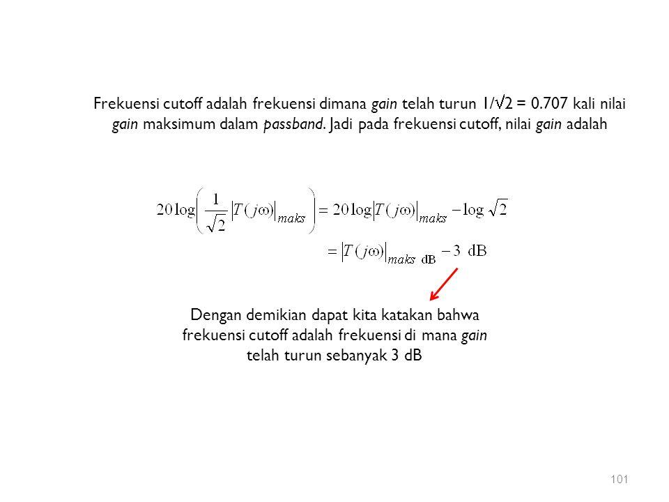 Frekuensi cutoff adalah frekuensi dimana gain telah turun 1/  2 = 0.707 kali nilai gain maksimum dalam passband. Jadi pada frekuensi cutoff, nilai ga