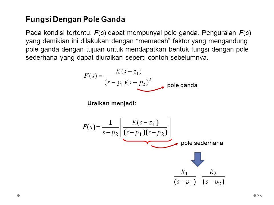 """Pada kondisi tertentu, F(s) dapat mempunyai pole ganda. Penguraian F(s) yang demikian ini dilakukan dengan """"memecah"""" faktor yang mengandung pole ganda"""