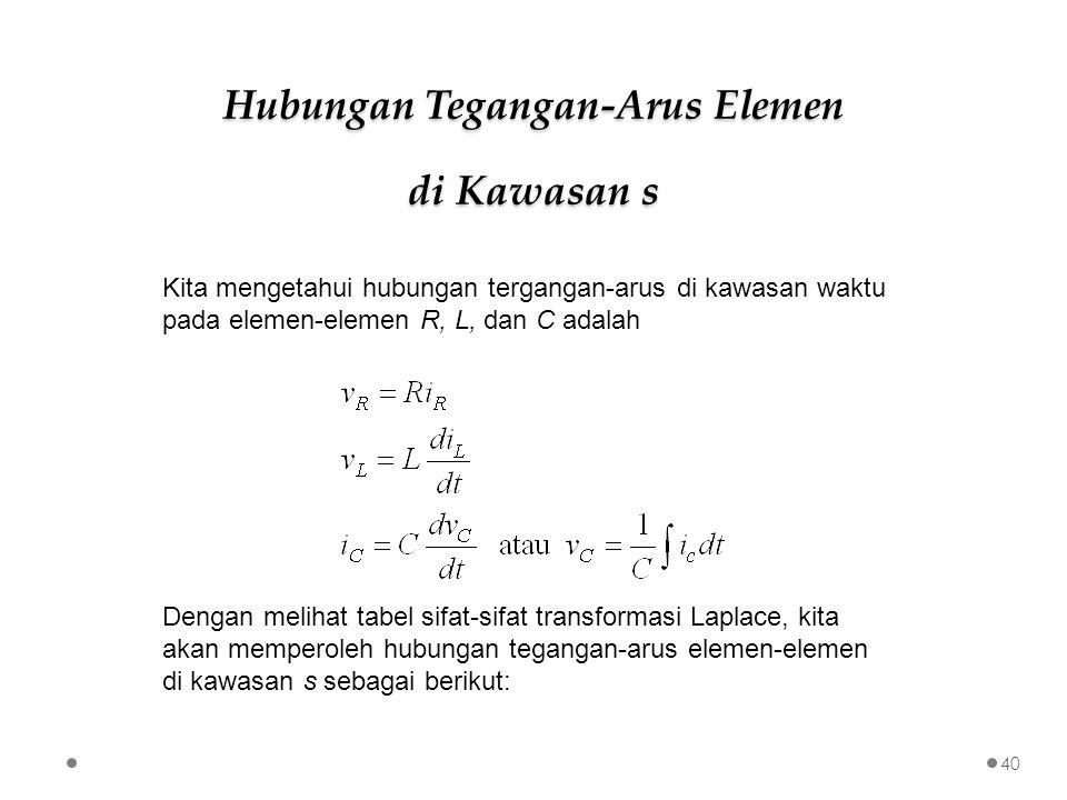 Kita mengetahui hubungan tergangan-arus di kawasan waktu pada elemen-elemen R, L, dan C adalah Dengan melihat tabel sifat-sifat transformasi Laplace,