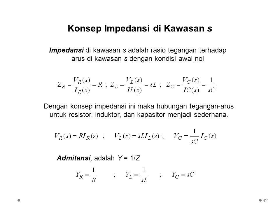 Konsep Impedansi di Kawasan s Impedansi di kawasan s adalah rasio tegangan terhadap arus di kawasan s dengan kondisi awal nol Dengan konsep impedansi