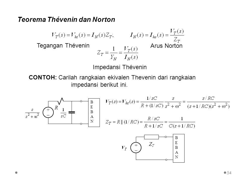 Teorema Thévenin dan Norton CONTOH: Carilah rangkaian ekivalen Thevenin dari rangkaian impedansi berikut ini. ++ BEBANBEBAN R ++ BEBANBEBAN ZTZT T