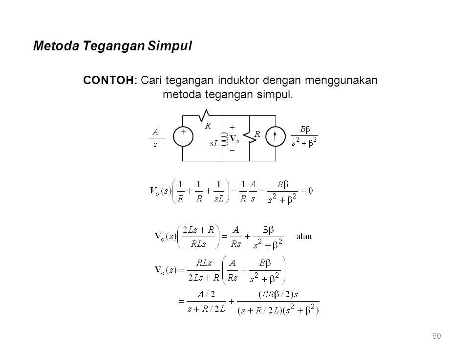 Metoda Tegangan Simpul ++ R sLsL +Vo+Vo R CONTOH: Cari tegangan induktor dengan menggunakan metoda tegangan simpul. 60