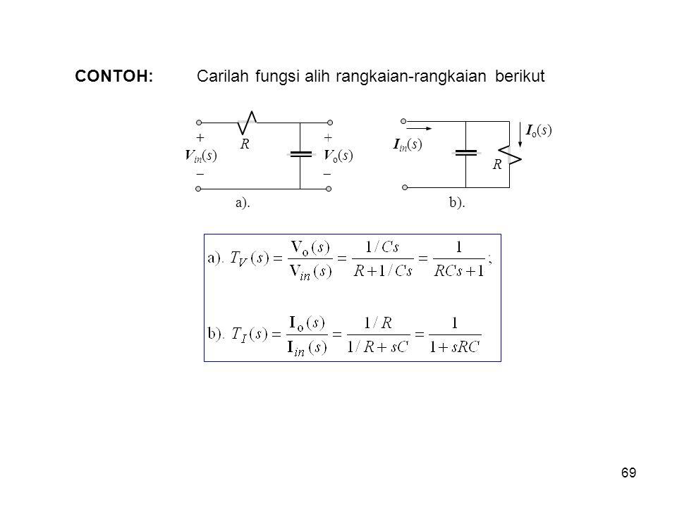 Carilah fungsi alih rangkaian-rangkaian berikut CONTOH: a). R + V in (s)  +Vo(s)+Vo(s) R I in (s) b). Io(s)Io(s) 69
