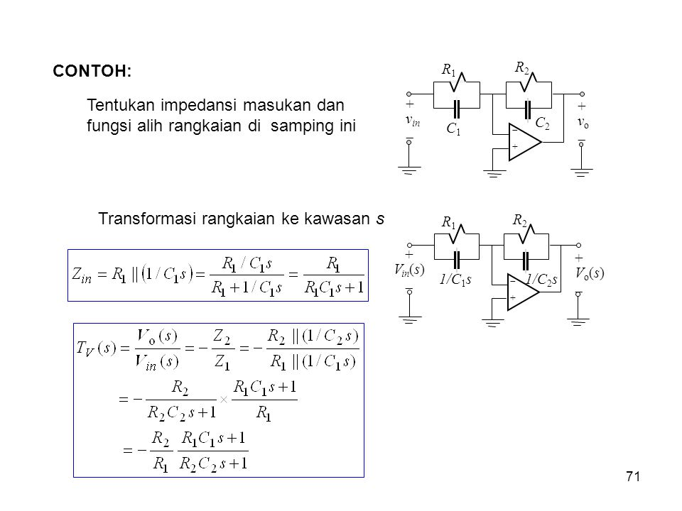 CONTOH: Tentukan impedansi masukan dan fungsi alih rangkaian di samping ini ++ R2R2 + v in  + v o  R1R1 C1C1 C2C2 Transformasi rangkaian ke kawasa