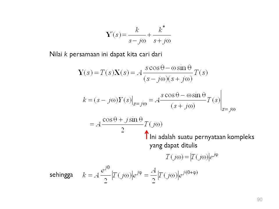Nilai k persamaan ini dapat kita cari dari sehingga Ini adalah suatu pernyataan kompleks yang dapat ditulis 90