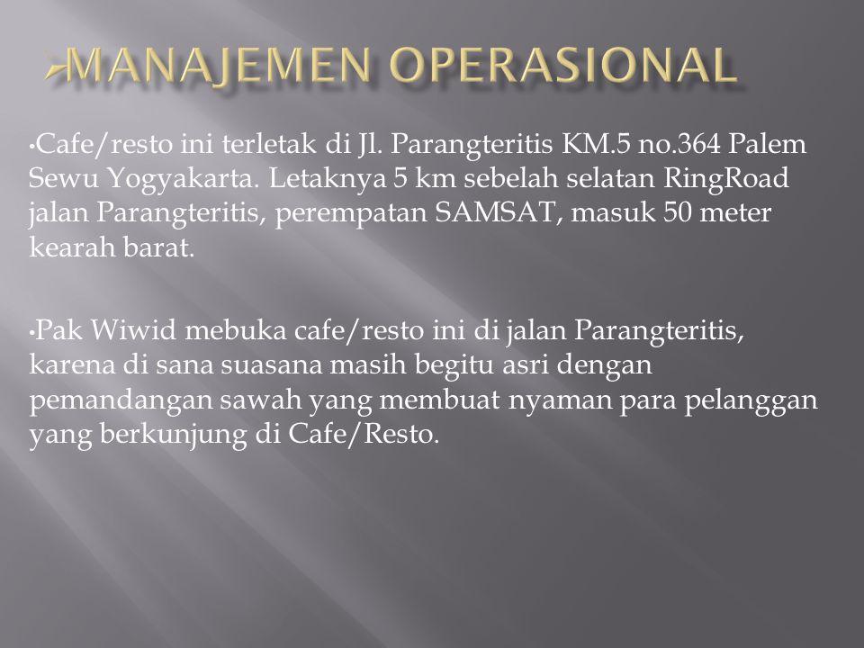 Cafe/resto ini terletak di Jl. Parangteritis KM.5 no.364 Palem Sewu Yogyakarta.