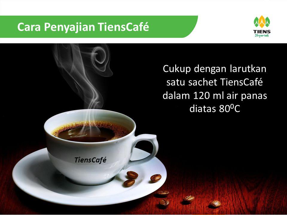 Cara Penyajian TiensCafé Cukup dengan larutkan satu sachet TiensCafé dalam 120 ml air panas diatas 80 0 C TiensCafé