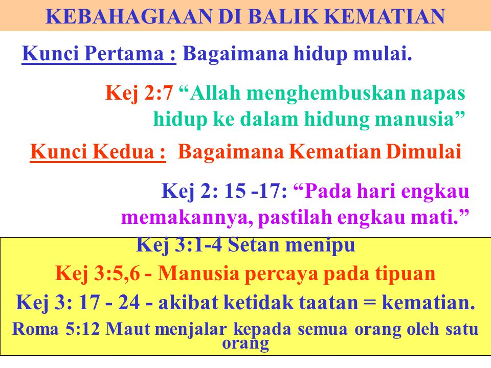 """KEBAHAGIAAN DI BALIK KEMATIAN Kunci Pertama : Bagaimana hidup mulai. Kej 2:7 """"Allah menghembuskan napas hidup ke dalam hidung manusia"""" Kunci Kedua : B"""