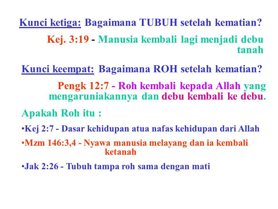 Kunci ketiga: Bagaimana TUBUH setelah kematian? Kej. 3:19 - Manusia kembali lagi menjadi debu tanah Kunci keempat: Bagaimana ROH setelah kematian? Pen