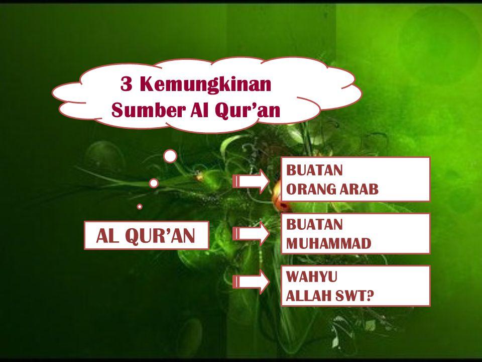 AL QUR'AN BUATAN ORANG ARAB BUATAN MUHAMMAD WAHYU ALLAH SWT? 3 Kemungkinan Sumber Al Qur'an