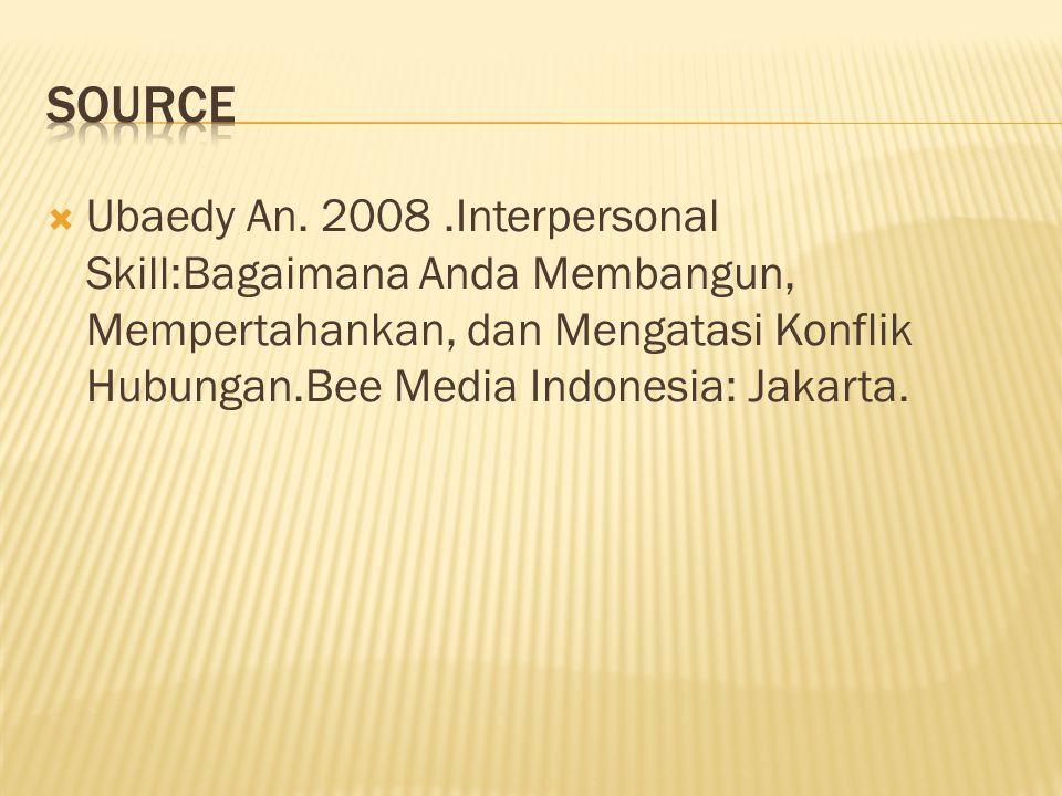  Ubaedy An. 2008.Interpersonal Skill:Bagaimana Anda Membangun, Mempertahankan, dan Mengatasi Konflik Hubungan.Bee Media Indonesia: Jakarta.