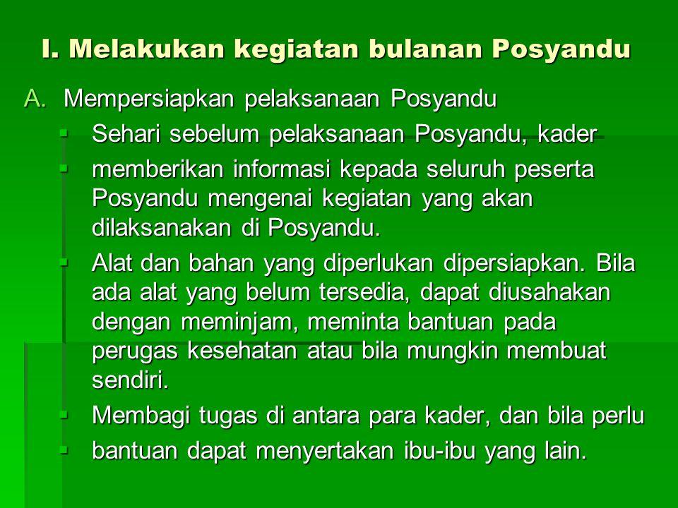I. Melakukan kegiatan bulanan Posyandu A.Mempersiapkan pelaksanaan Posyandu  Sehari sebelum pelaksanaan Posyandu, kader  memberikan informasi kepada