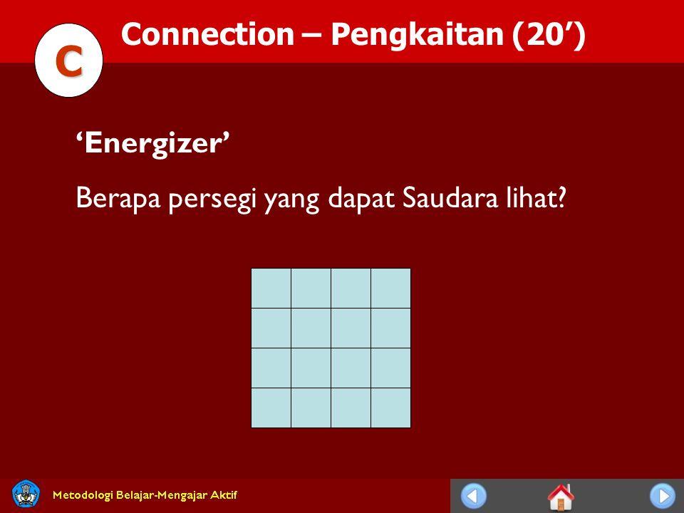 Connection – Pengkaitan (20') C 'Energizer' Berapa persegi yang dapat Saudara lihat?