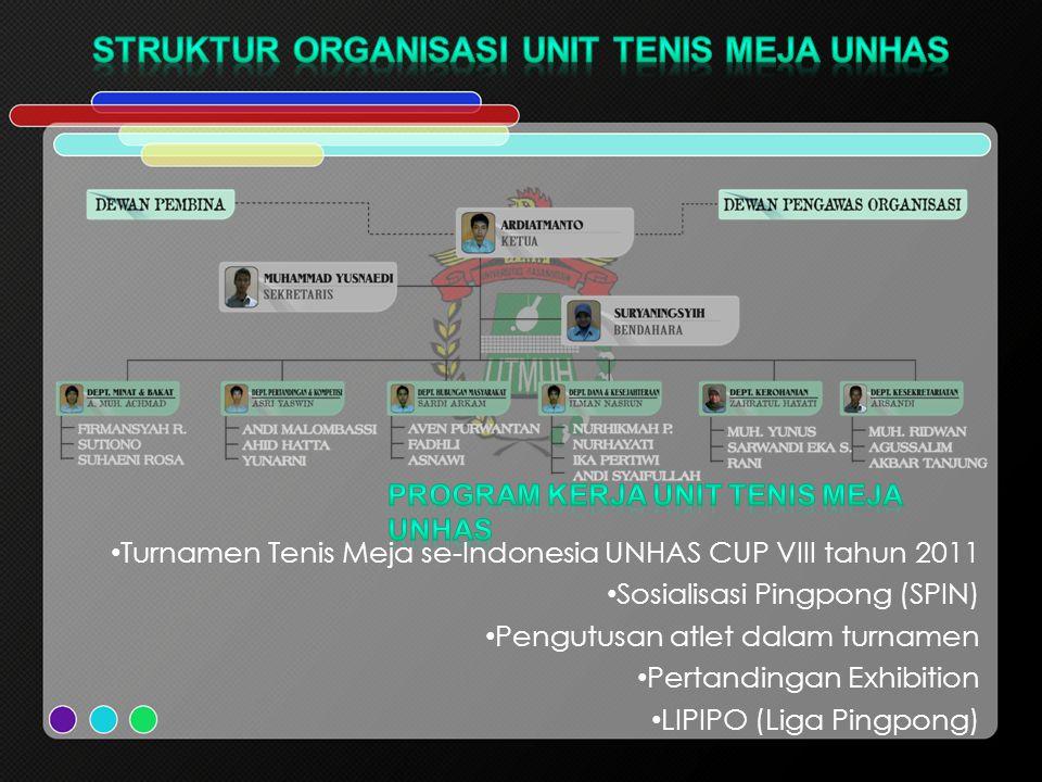 Turnamen Tenis Meja se-Indonesia UNHAS CUP VIII tahun 2011 Sosialisasi Pingpong (SPIN) Pengutusan atlet dalam turnamen Pertandingan Exhibition LIPIPO (Liga Pingpong)