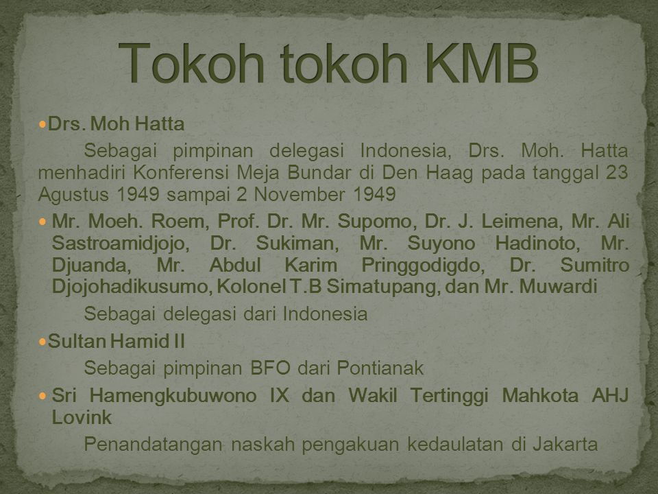 Drs. Moh Hatta Sebagai pimpinan delegasi Indonesia, Drs. Moh. Hatta menhadiri Konferensi Meja Bundar di Den Haag pada tanggal 23 Agustus 1949 sampai 2