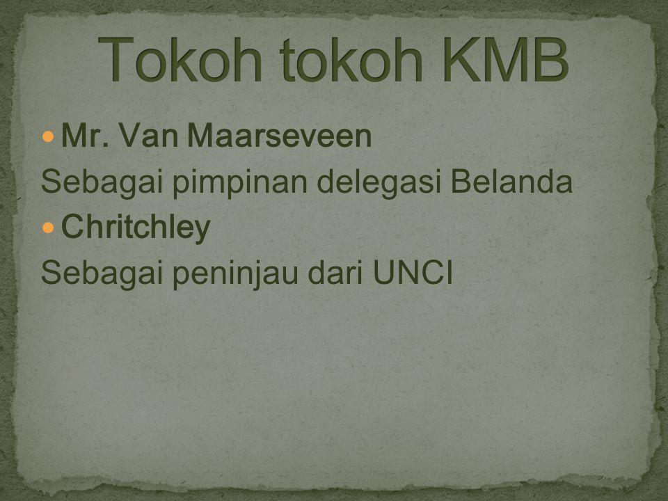 Mr. Van Maarseveen Sebagai pimpinan delegasi Belanda Chritchley Sebagai peninjau dari UNCI