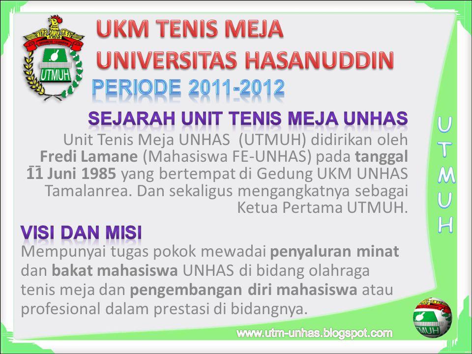 -- Unit Tenis Meja UNHAS (UTMUH) didirikan oleh Fredi Lamane (Mahasiswa FE-UNHAS) pada tanggal 11 Juni 1985 yang bertempat di Gedung UKM UNHAS Tamalanrea.