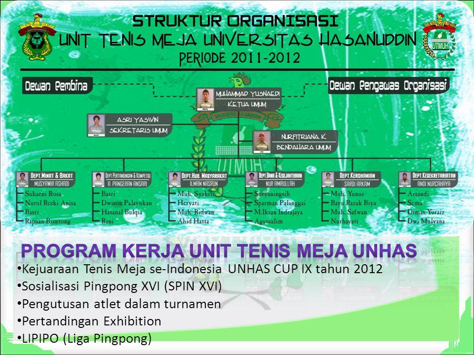 Kejuaraan Tenis Meja se-Indonesia UNHAS CUP IX tahun 2012 Sosialisasi Pingpong XVI (SPIN XVI) Pengutusan atlet dalam turnamen Pertandingan Exhibition LIPIPO (Liga Pingpong)