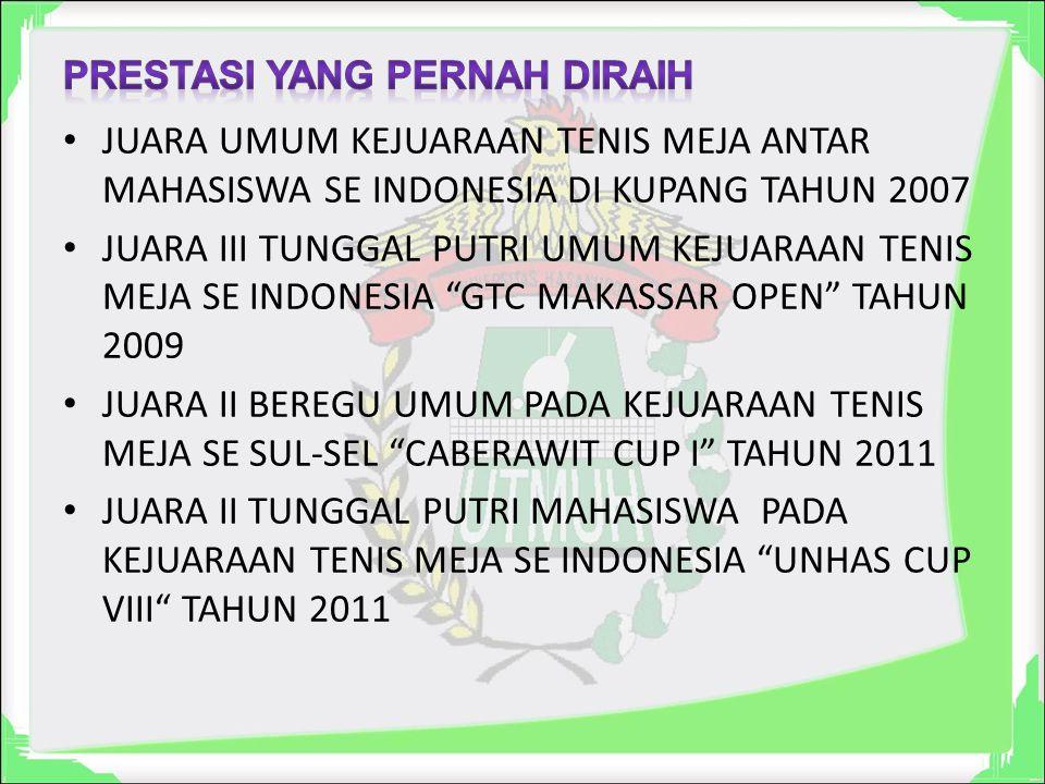 JUARA UMUM KEJUARAAN TENIS MEJA ANTAR MAHASISWA SE INDONESIA DI KUPANG TAHUN 2007 JUARA III TUNGGAL PUTRI UMUM KEJUARAAN TENIS MEJA SE INDONESIA GTC MAKASSAR OPEN TAHUN 2009 JUARA II BEREGU UMUM PADA KEJUARAAN TENIS MEJA SE SUL-SEL CABERAWIT CUP I TAHUN 2011 JUARA II TUNGGAL PUTRI MAHASISWA PADA KEJUARAAN TENIS MEJA SE INDONESIA UNHAS CUP VIII TAHUN 2011