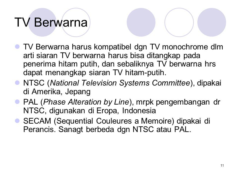 11 TV Berwarna TV Berwarna harus kompatibel dgn TV monochrome dlm arti siaran TV berwarna harus bisa ditangkap pada penerima hitam putih, dan sebalikn
