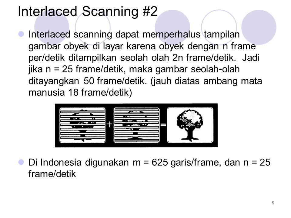 6 Interlaced Scanning #2 Interlaced scanning dapat memperhalus tampilan gambar obyek di layar karena obyek dengan n frame per/detik ditampilkan seolah