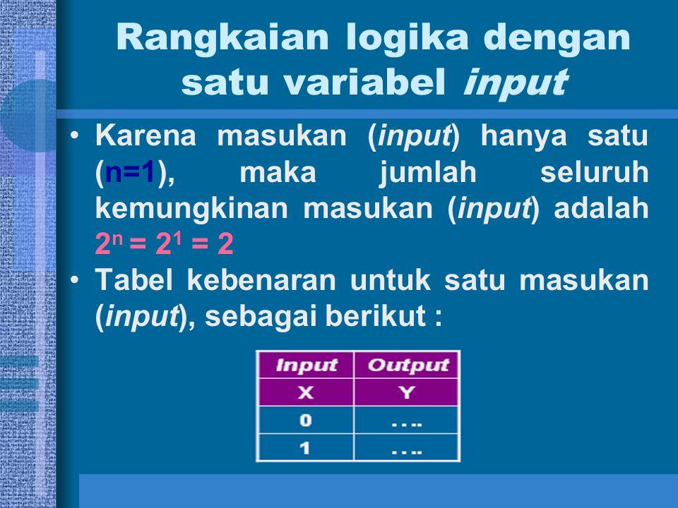 Rangkaian logika dengan dua variabel input Karena masukan (input) hanya dua (n=2), maka jumlah seluruh kemungkinan masukan (input) adalah 2 n = 2 2 = 4 Tabel kebenaran untuk dua masukan (input), sebagai berikut :
