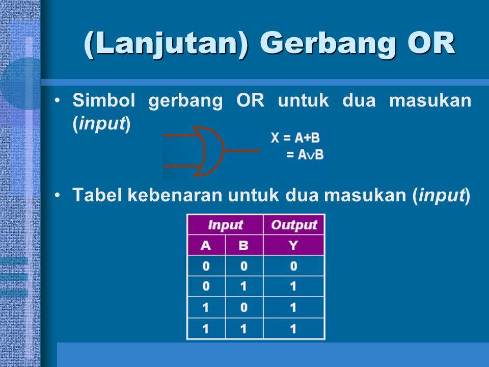 (Lanjutan) Gerbang NAND Tabel kebenaran untuk dua input InputOutput AND Output NAND AB A.