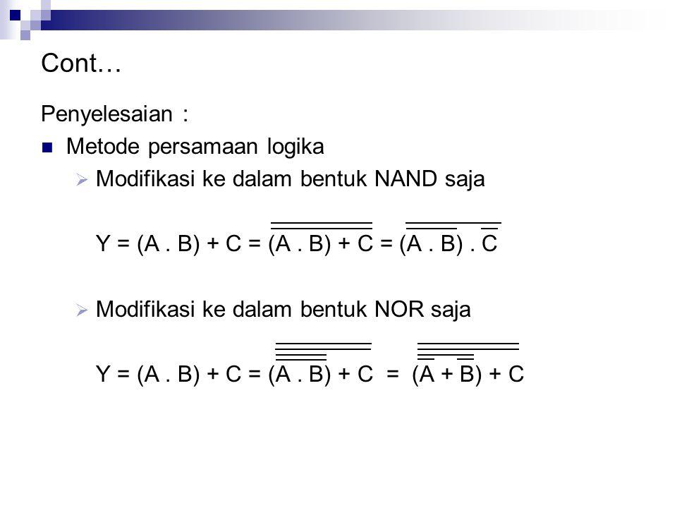 Cont… Penyelesaian : Metode persamaan logika  Modifikasi ke dalam bentuk NAND saja Y = (A. B) + C = (A. B) + C = (A. B). C  Modifikasi ke dalam bent