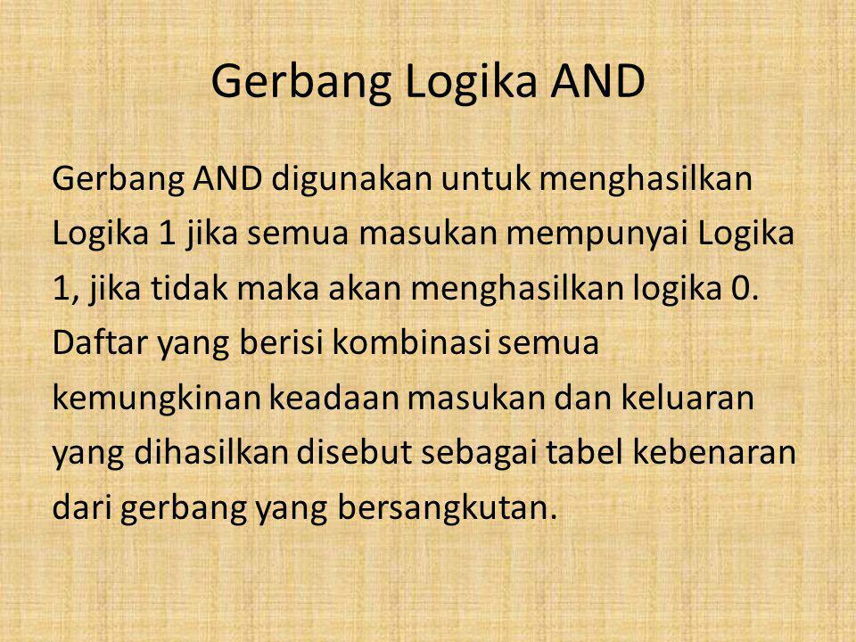 Gerbang Logika AND Gerbang AND digunakan untuk menghasilkan Logika 1 jika semua masukan mempunyai Logika 1, jika tidak maka akan menghasilkan logika 0