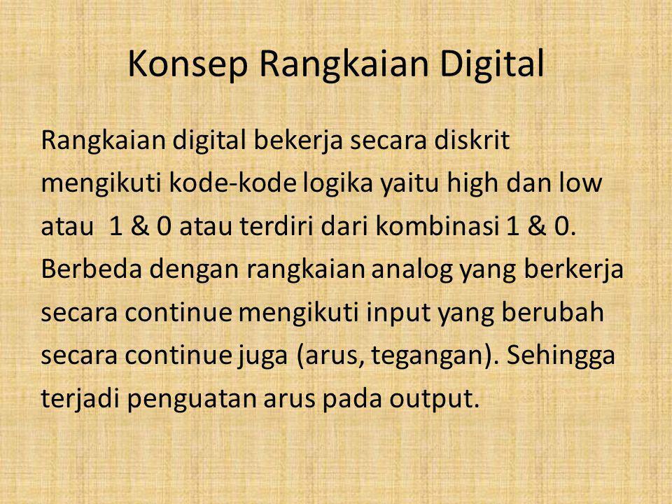 Konsep Rangkaian Digital Rangkaian digital bekerja secara diskrit mengikuti kode-kode logika yaitu high dan low atau 1 & 0 atau terdiri dari kombinasi