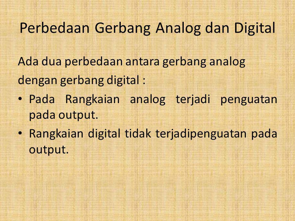 Perbedaan Gerbang Analog dan Digital Ada dua perbedaan antara gerbang analog dengan gerbang digital : Pada Rangkaian analog terjadi penguatan pada out