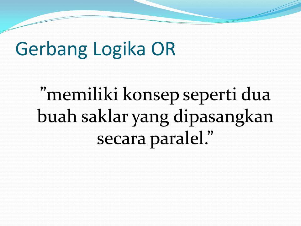"""Gerbang Logika OR """"memiliki konsep seperti dua buah saklar yang dipasangkan secara paralel."""""""