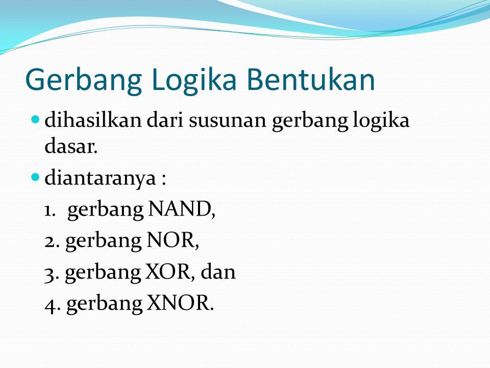 Gerbang Logika Bentukan dihasilkan dari susunan gerbang logika dasar. diantaranya : 1. gerbang NAND, 2. gerbang NOR, 3. gerbang XOR, dan 4. gerbang XN