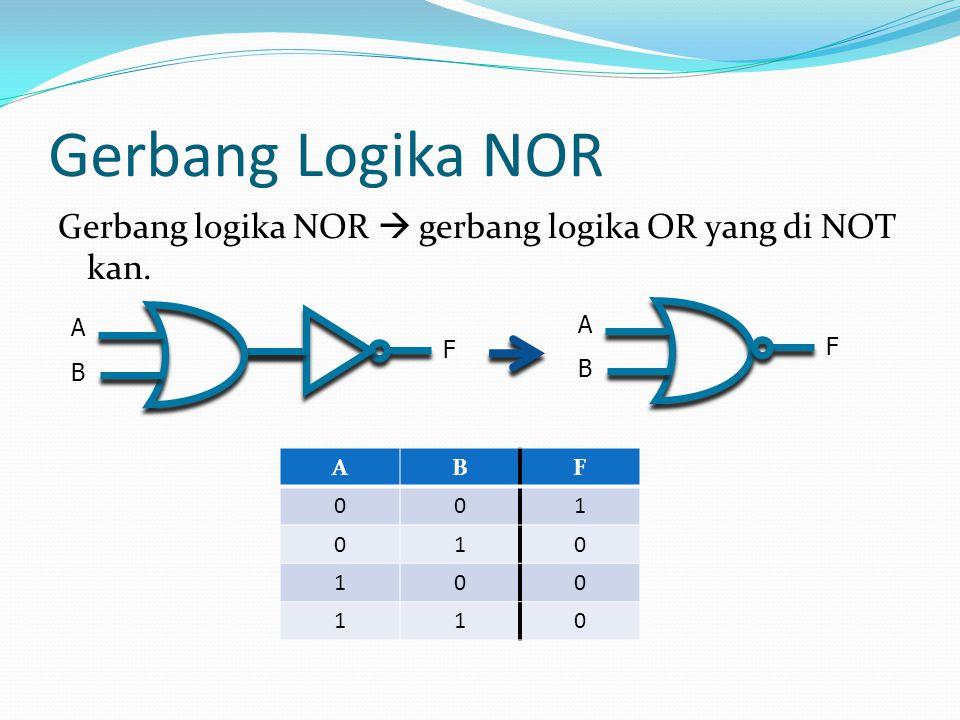 Gerbang Logika NOR Gerbang logika NOR  gerbang logika OR yang di NOT kan. ABF 001 010 100 110 A B F F A B