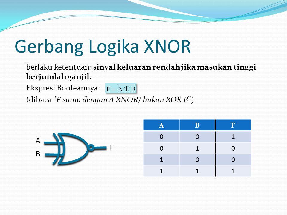 """Gerbang Logika XNOR berlaku ketentuan: sinyal keluaran rendah jika masukan tinggi berjumlah ganjil. Ekspresi Booleannya : (dibaca """"F sama dengan A XNO"""