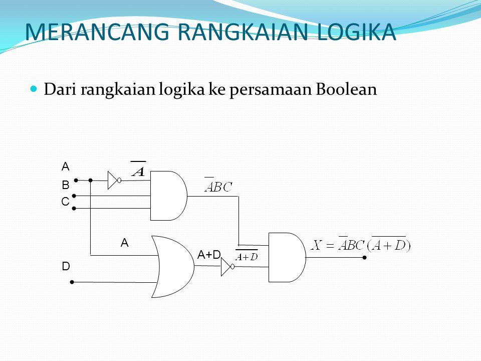 Dari rangkaian logika ke persamaan Boolean A B C D A+D A MERANCANG RANGKAIAN LOGIKA