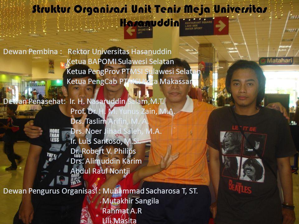 Struktur Organisasi Unit Tenis Meja Universitas Hasanuddin Dewan Pembina : Rektor Universitas Hasanuddin Ketua BAPOMI Sulawesi Selatan Ketua PengProv