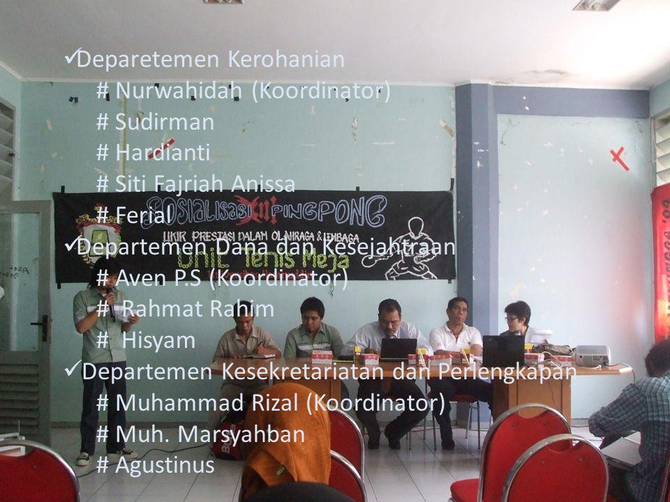 Deparetemen Kerohanian # Nurwahidah (Koordinator) # Sudirman # Hardianti # Siti Fajriah Anissa # Ferial Departemen Dana dan Kesejahtraan # Aven P.S (K