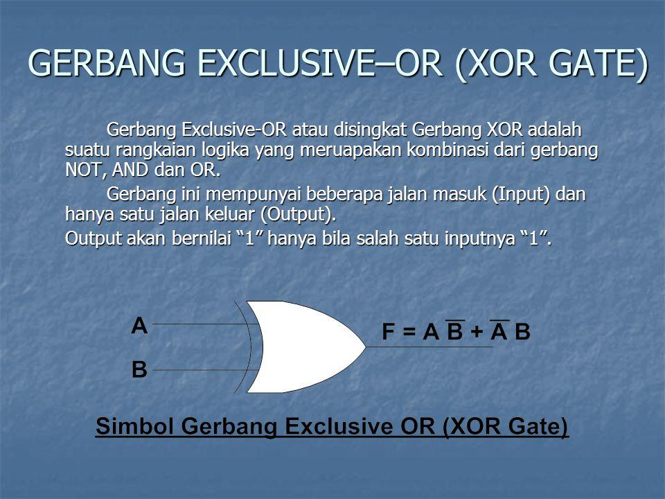 GERBANG EXCLUSIVE–OR (XOR GATE) Gerbang Exclusive-OR atau disingkat Gerbang XOR adalah suatu rangkaian logika yang meruapakan kombinasi dari gerbang N