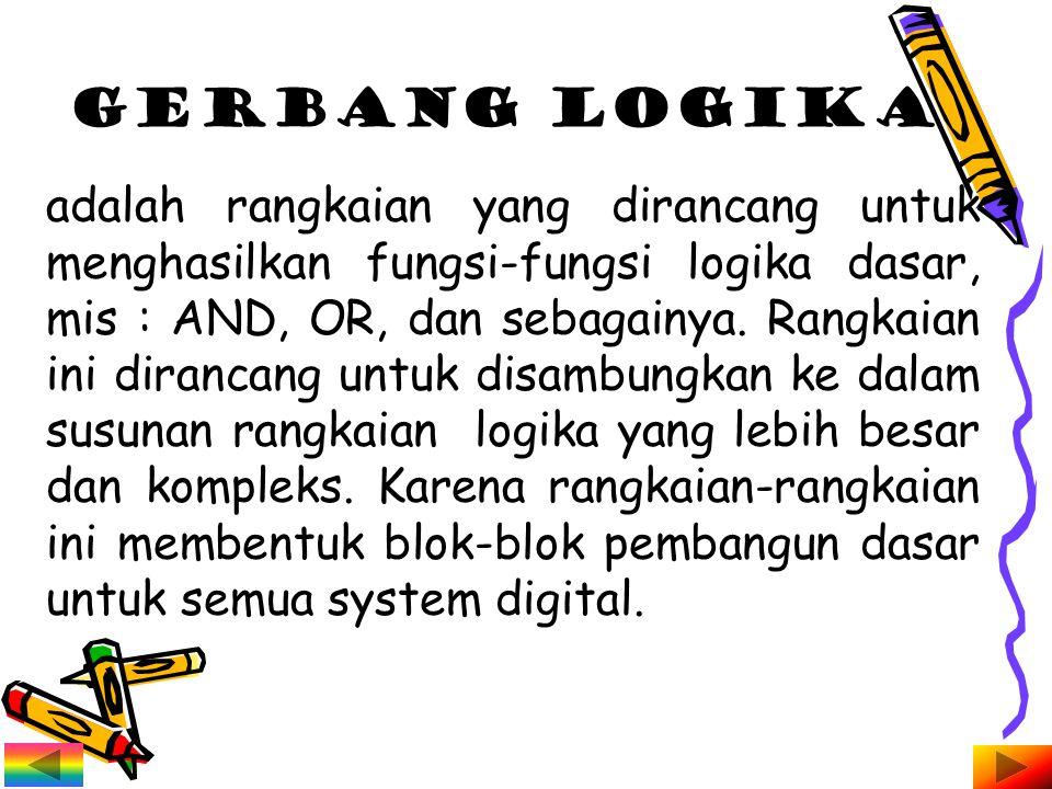 adalah rangkaian yang dirancang untuk menghasilkan fungsi-fungsi logika dasar, mis : AND, OR, dan sebagainya.