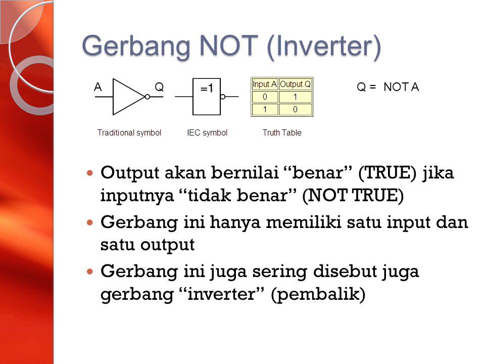 "Gerbang NOT (Inverter) Output akan bernilai ""benar"" (TRUE) jika inputnya ""tidak benar"" (NOT TRUE) Gerbang ini hanya memiliki satu input dan satu outpu"