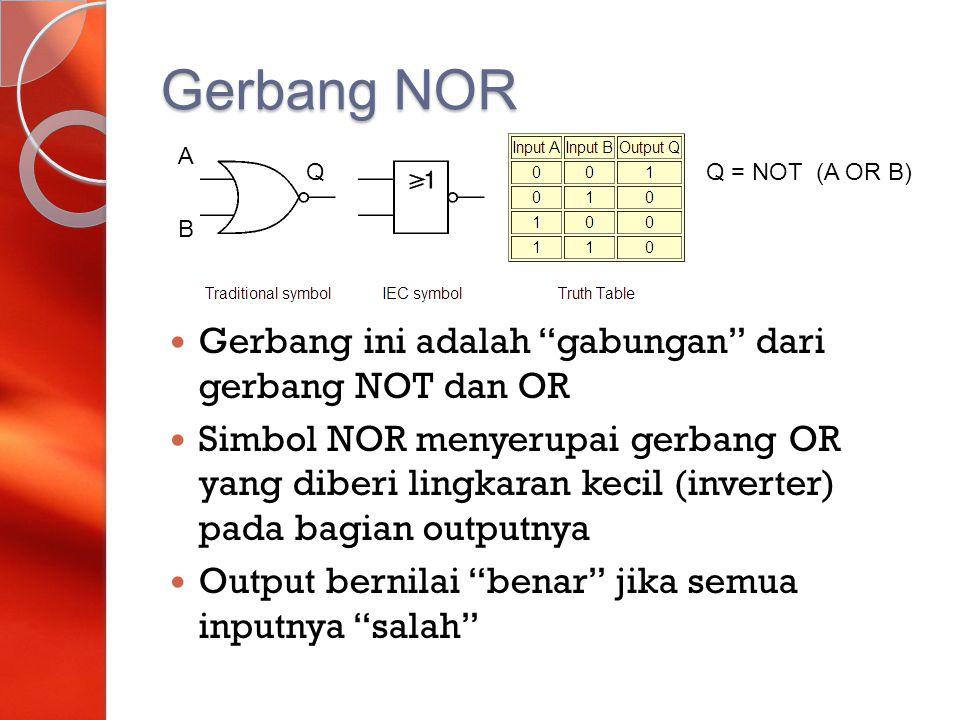 """Gerbang NOR Gerbang ini adalah """"gabungan"""" dari gerbang NOT dan OR Simbol NOR menyerupai gerbang OR yang diberi lingkaran kecil (inverter) pada bagian"""