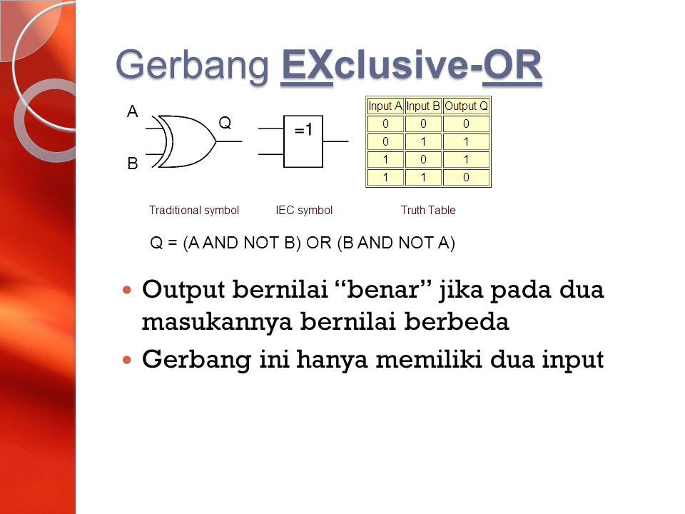 """Gerbang EXclusive-OR Output bernilai """"benar"""" jika pada dua masukannya bernilai berbeda Gerbang ini hanya memiliki dua input A Q B Q = (A AND NOT B) OR"""