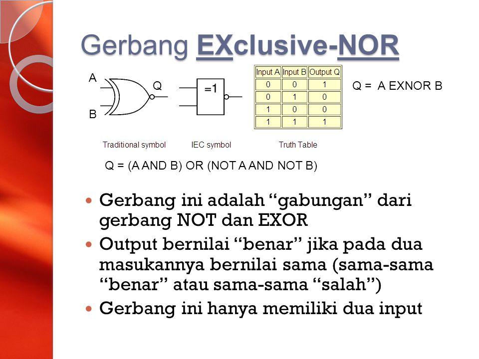 "Gerbang EXclusive-NOR Gerbang ini adalah ""gabungan"" dari gerbang NOT dan EXOR Output bernilai ""benar"" jika pada dua masukannya bernilai sama (sama-sam"