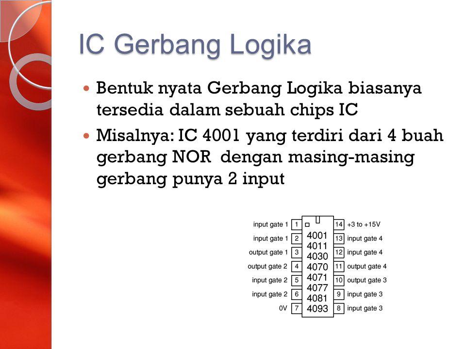 IC Gerbang Logika Bentuk nyata Gerbang Logika biasanya tersedia dalam sebuah chips IC Misalnya: IC 4001 yang terdiri dari 4 buah gerbang NOR dengan ma