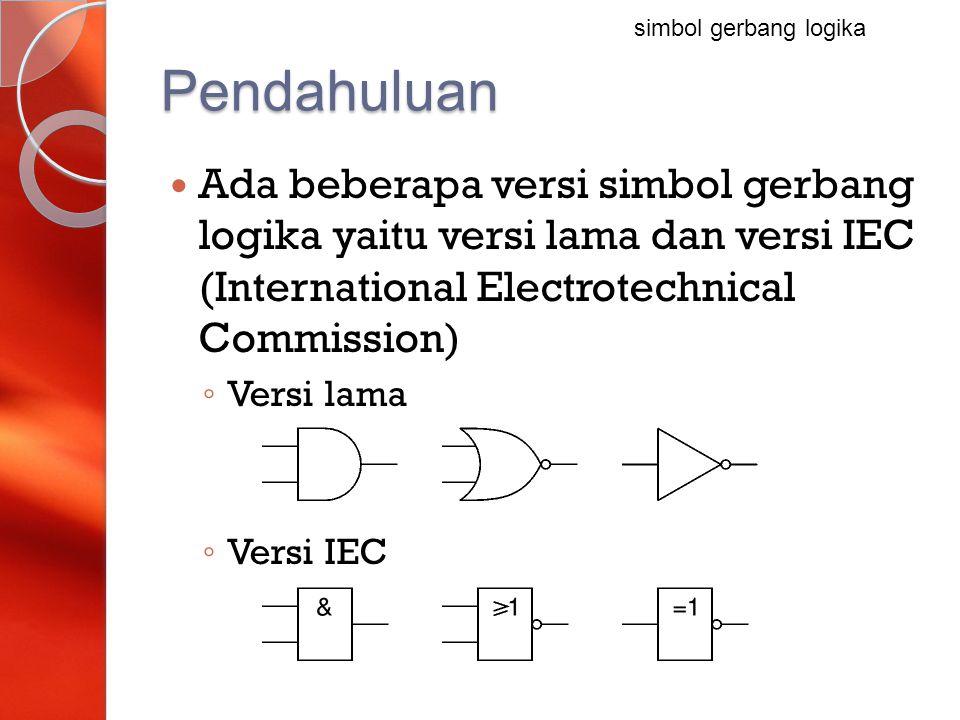 Pendahuluan Ada beberapa versi simbol gerbang logika yaitu versi lama dan versi IEC (International Electrotechnical Commission) ◦ Versi lama ◦ Versi I
