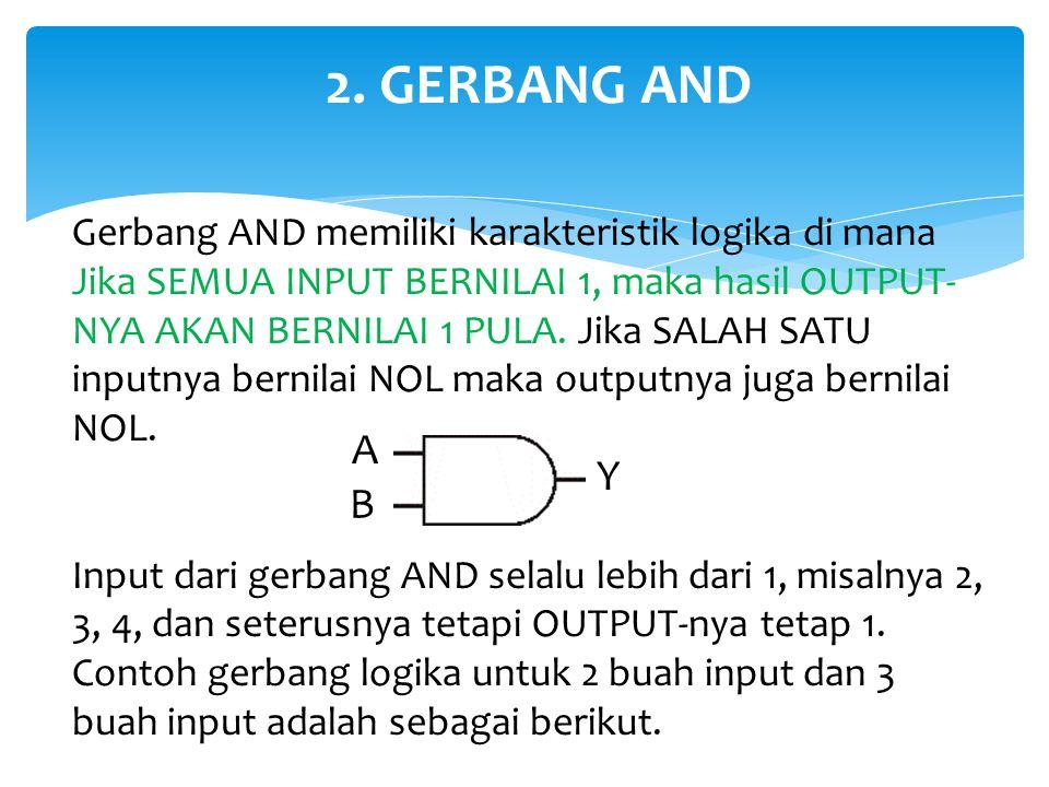 2. GERBANG AND Gerbang AND memiliki karakteristik logika di mana Jika SEMUA INPUT BERNILAI 1, maka hasil OUTPUT- NYA AKAN BERNILAI 1 PULA. Jika SALAH