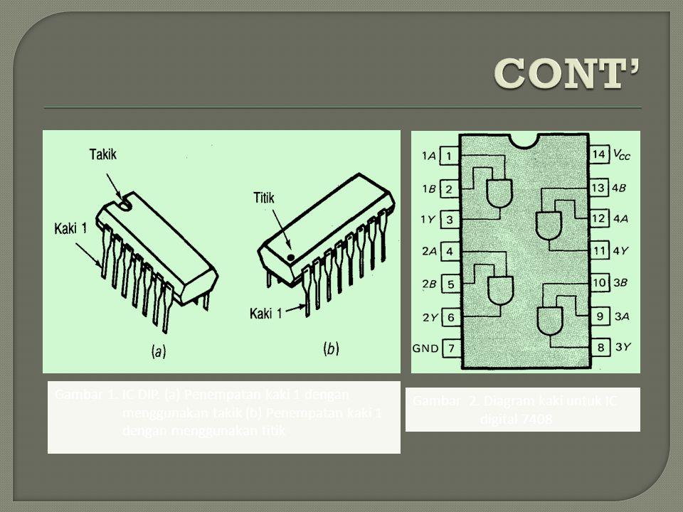 Gambar 1. IC DIP. (a) Penempatan kaki 1 dengan menggunakan takik (b) Penempatan kaki 1 dengan menggunakan titik Gambar 2. Diagram kaki untuk IC digita